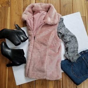 Liz Claiborne pink faux fur reversable vest